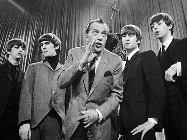 Ed Sullivan with the Beatles before the band´s first appearance on his TV show. (from Inquirer Archives)