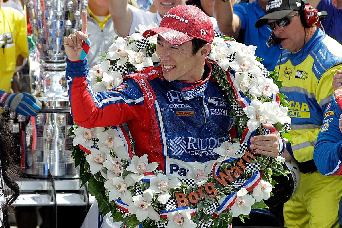 Takuma Sato, of Japan, celebrates winning the Indianapolis 500 auto race at Indianapolis Motor Speedway, Sunday, May 28, 2017 in Indianapolis.