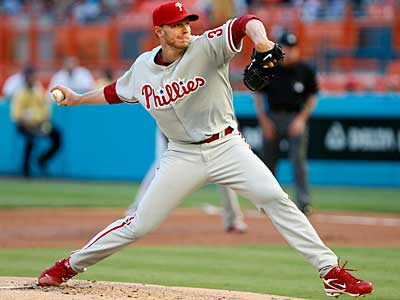 Phillies starter Roy Halladay delivers against the Marlins en route to a perfect game. (AP Photo / Wilfredo Lee).