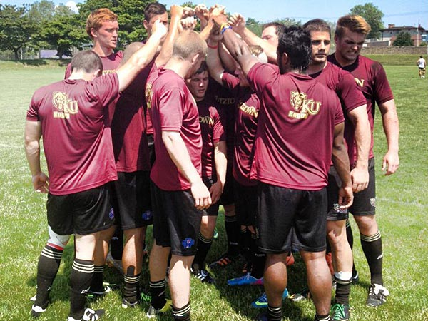 Kutztown Rugby holds their last practice in preparation for the Collegiate Rugby Championships at PPL Park. (Courtesy of Kutztown Rugby)