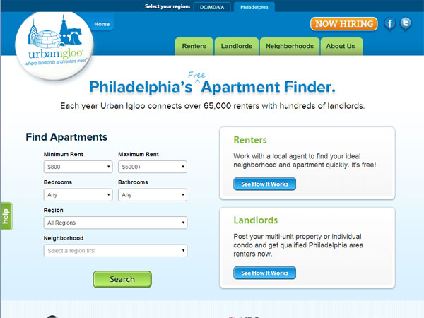 A screen grab from Urban Igloo´s Philadelphia web site.