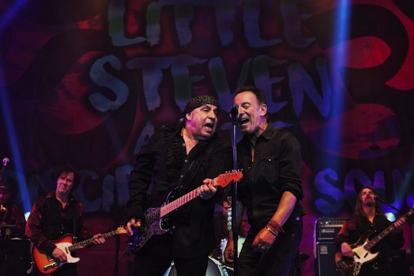 "In this Saturday, May 27, 2017 photo, Bruce Springsteen, right, performs at the Count Basie Theatre in Red Bank, N.J., with rocker Steven Van Zandt, left, during the show´s encore. Springsteen performed a handful of songs including ""Tenth Avenue Freeze-Out"" when Van Zandt surprised guests and invited Springsteen on stage."