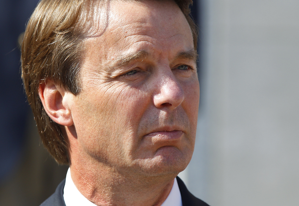 Ex-presidential candidate John Edwards speaks outside a federal courthouse after his campaign finance fraud case ended in a mistrial. Jurors acquitted Edwards on one charge and deadlocked on the other five, unable to decide whether he used money from two wealthy donors to hide his pregnant mistress while he ran for president and his wife was dying of cancer. (AP Photo/Chuck Burton)