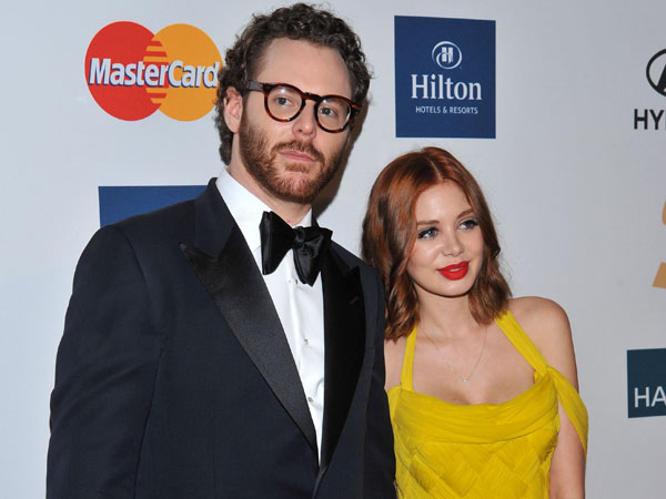 Sean Parker, left, and Alexandra Lenas arrive at the Pre-GRAMMY Gala & Salute to Industry Icons with Clive Davis honoring Richard Branson, Saturday, Feb. 11, 2012, in Beverly Hills, Calif. (AP Photo/Vince Bucci)