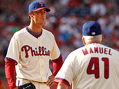 Cole Hamels has struggled in recent starts and is showing signs of frustration. (Ron Cortes/Staff Photographer)
