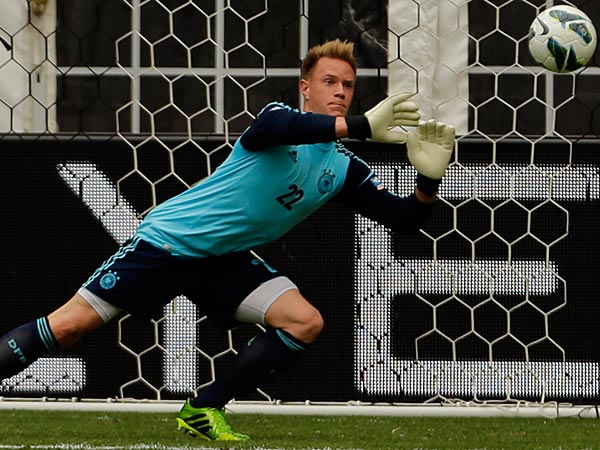 Germany goalkeeper Marc-Andreter Stegen (22) blocks a shot during the first half of an international friendly soccer match against the U.S. at RFK Stadium Sunday, June 2, 2013, in Washington. (AP Photo/Alex Brandon)