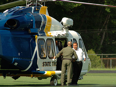 Gov. Christie arrived via state helicopter to watch his son play in a high school baseball game. (Christopher Costa / Ridgewood.Patch.com)