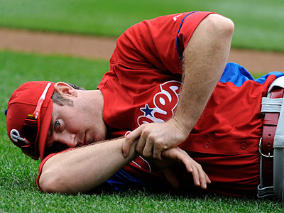 Phillies second baseman Chase Utley is still recovering from a knee injury. (Richard Lipski/AP Photo)