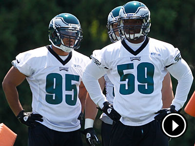 The Eagles added Mychal Kendricks (95) and DeMeco Ryans (59) to their linebacking corps this offseason. (Matt Rourke/AP Photo)