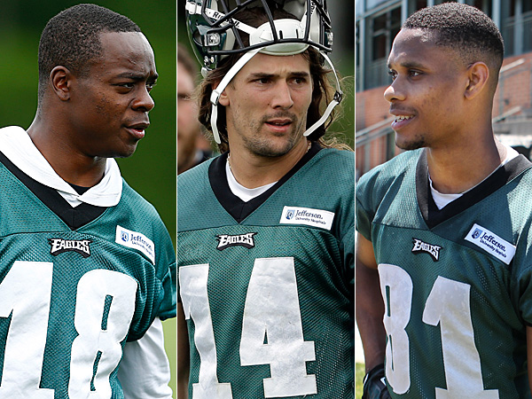 Eagles wide receivers Jeremy Maclin (left), Riley Cooper (center), and Jordan Matthews (right). (Staff and AP Photos)