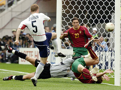 John O´Brien scored the United States´ first goal in a 3-2 upset of Portugal at the 2002 World Cup. (Elise Amendola/AP file photo)