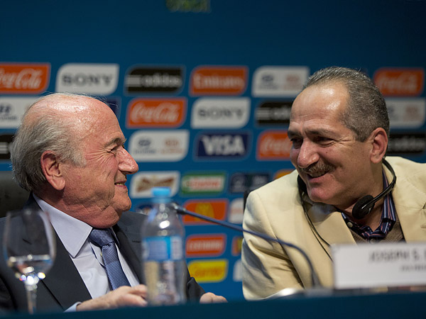 FIFA president Sepp Blatter (left) and Brazil sports minister Aldo Rebelo (right) at a press conference on June 5 in Sao Paulo. (Andre Penner/AP)