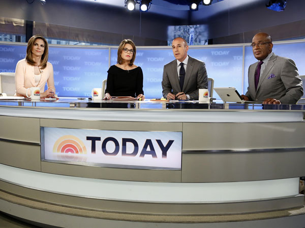 "This April 18, 2013 photo released by NBC shows co-hosts, from left, Natalie Morales, Savannah Guthrie, Matt Lauer and Al Roker on the set of NBC News´ ""Today"" show in New York. Police say an emotionally disturbed man is in custody after he tried to slit his wrists outside NBC´s ""Today"" show on Thursday, June 6. Police say the man, who appeared to be in his 50s, was in the crowd outside the broadcast. The man was taken into custody as an emotionally disturbed person. His physical injuries were not life-threatening. His mental condition is being evaluated at a hospital.  (AP Photo/NBC, Peter Kramer)"