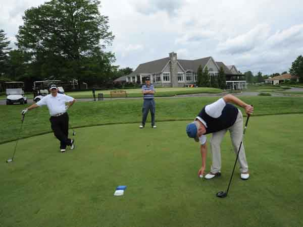 Woodcrest Country Club in Cherry Hill, NJ on June 6, 3013. Here, from left to right: Bob Weishoff; Dennis Lorell; and Gene Fleishman on the golf course.  ( APRIL SAUL / Staff )