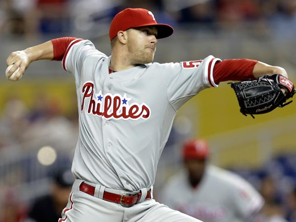 Phillies starting pitcher Tyler Cloyd throws during a baseball game against the Miami Marlins in Miami, Tuesday, May 21, 2013. (Lynne Sladky/AP)