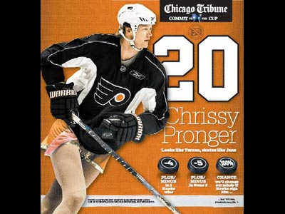 The Chicago Tribune published this poster mocking Chris Pronger today.