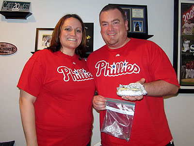 Steve and Mandy Dunne have preserved a hot dog that Steve bought at Veterans Stadium in 2003. (Olivia Kram/For the Daily News)