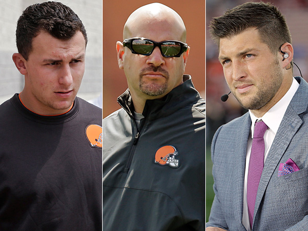 Browns quarterback Johnny Manziel (left), Browns head coach Mike Pettine (center), and former NFL quarterback Tim Tebow (right). (AP Photos)
