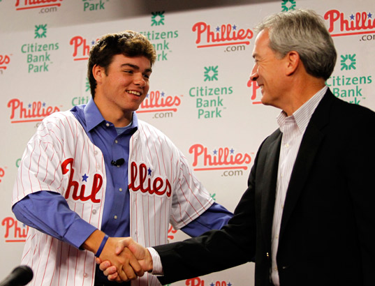 Phillies´ first-round draft pick in the 2010 First-Year Player Draft, Jesse Biddle (left), shakes hands with Phillies Director of Scouting, Marti Wolever, before Biddle met with local media members at Citizens Bank Park on June 10, 2010.  (Yong Kim / Staff Photographer)
