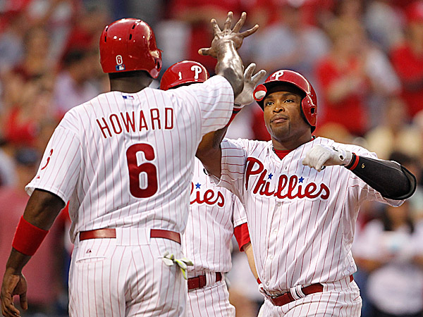 Phillies first baseman Ryan Howard and right fielder Marlon Byrd. (Ron Cortes/Staff Photographer)
