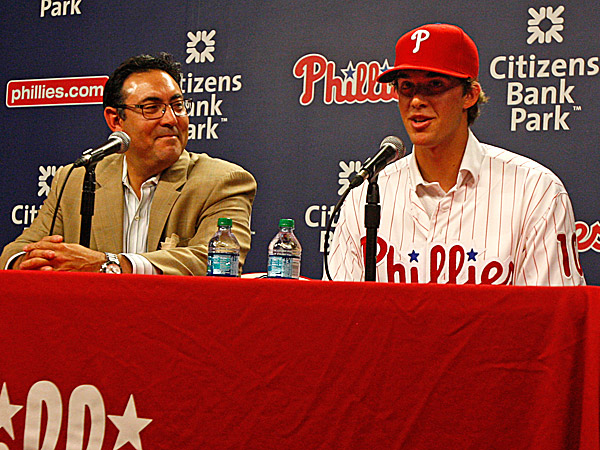 Phillies general manager Ruben Amaro Jr. and 2014 first round draft pick Aaron Nola. (Ron Cortes/Staff Photographer)