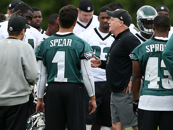 Head coach Chip Kelly, at right, talks with his team after Eagles OTAs. (David Maialetti/Staff Photographer)