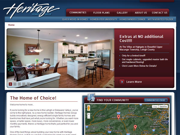 A screen grab from Heritage Homes Group´s web site.