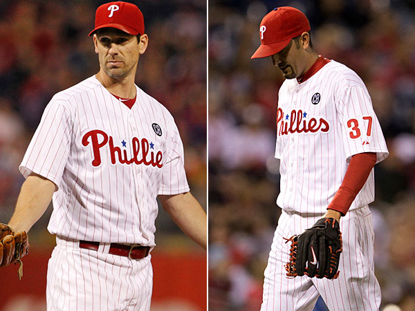 Phillies pitchers Cliff Lee and Mike Adams. (Staff Photos)