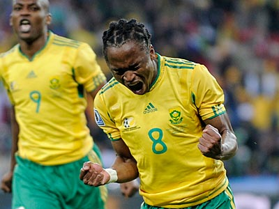 South Africa´s Siphiwe Tshabalala scored the first goal of the 2010 World Cup in today´s opener. (AP Photo/Martin Meissner)