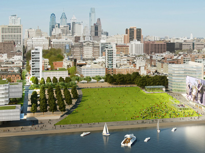An artist´s rendering of the new Penn´s Landing is part of a detailed Philadelphia master plan that would reshape the central Delaware riverfront as the flagship of a 21st-century lifestyle city. (KieranTimberlake, Brooklyn Digital)