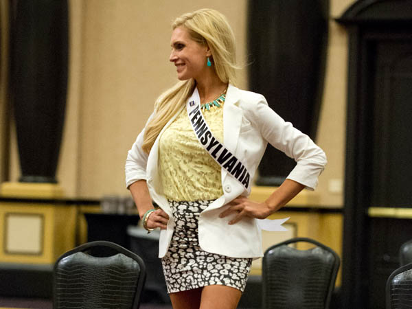 Miss Pennsylvania USA 2013, Jessica Billings, rehearses for the upcoming 2013 Miss USA Competition at Planet Hollywood Resort and Casino in Las Vegas, Nevada on Wednesday June 8, 2013. (Photo / Miss Universe Organization)