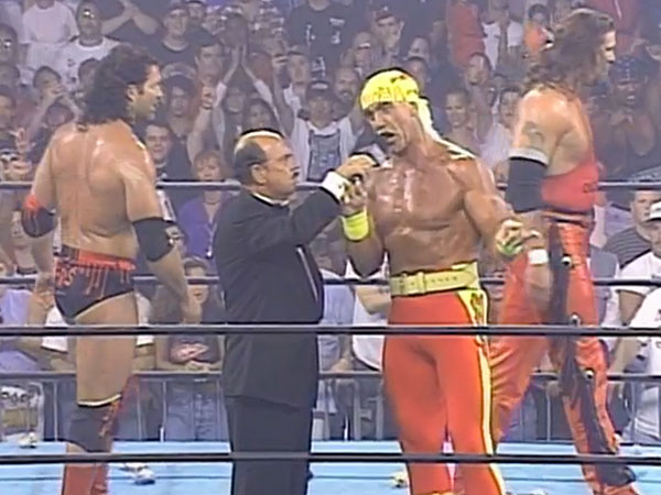 Hulk Hogan with his new partners Kevin Nash and Scott Hall. (Photo courtesy of the WWE Network)