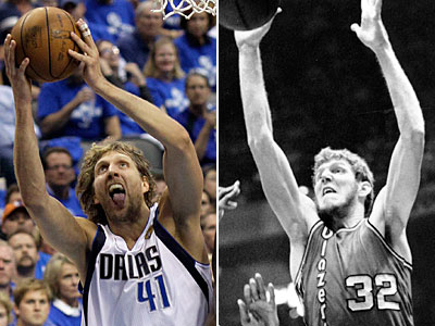 Both Dirk Nowitzki, left, and Bill Walton upped their games to defeat the favorite contenders and win NBA titles. (AP Photos)