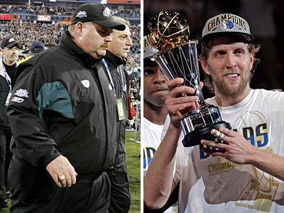 Andy Reid has not had a second chance at a championship, unlike Dirk Nowitzki, who capitalized on his second opportunity. (AP Photos)