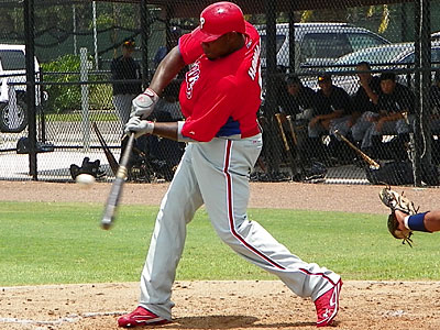Phillies first baseman Ryan Howard hit another home run in Saturday´s intrasquad game in Florida. (Photo by Eddie Michels)