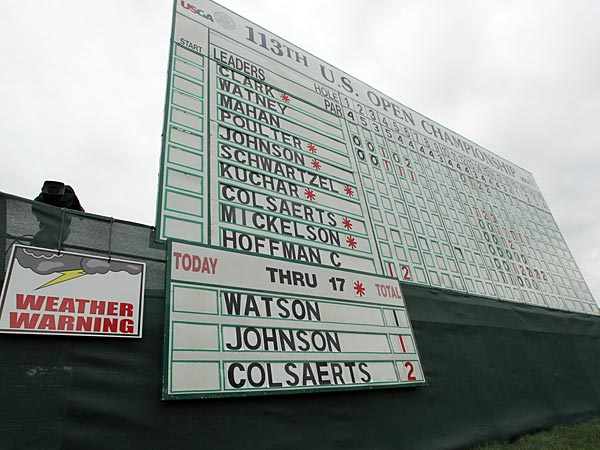 The leaderboard before the first round of the 2013 U.S. Open was suspended due to bad weather on Thursday, June 13, 2013. (Yong Kim / Staff Photographer)