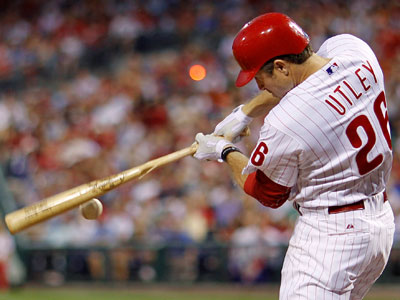 Chase Utley insists that a knee injury is not the cause of his slump. (AP Photo / Matt Slocum)