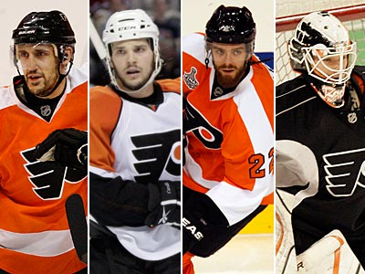 Blair Betts, Dan Carcillo, Ville Leino and Johan Backlund will all have offseason surgeries. (Staff file photos)