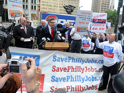 Jonathan Saidel spoke at a protest against the proposed soda tax outside City Hall on Tuesday. (Sarah J. Glover / Staff Photographer)