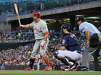 Jim Thome became the oldest Phillies player to ever have a four-RBI game at 41 years, 291 days old. (Jim Mone/AP)