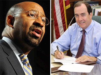 Philadelphia Mayor Michael Nutter (left) will appear on 6ABC at 7 p.m. to address school funding. Councilman Brian O´Neill (right) also asked for time to rebut Nutter´s speech, but his request wasn´t granted. (Staff Photos)