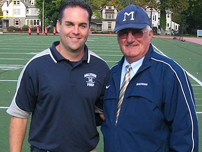 Malvern Prep coach Kevin Pellegrini  with his father, retired Friars coach Gamp Pellegrini. (File photo)