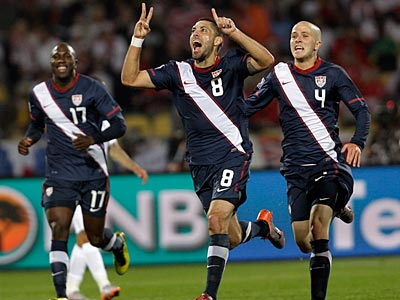 The U.S.´ Clint Dempsey celebrates after scoring during the World Cup Group C soccer match against England. (AP Photo / Elise Amendola)