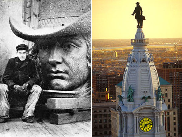 Alexander Milne Calder, seated left with the head of his statue of William Penn, won the competition to make it in 1874. The statue  stands atop Philadelphia City Hall and was the tallest thing in the city for more than a century. (Photos: gened.temple.edu / Wikimedia Commons and gophila.com.)