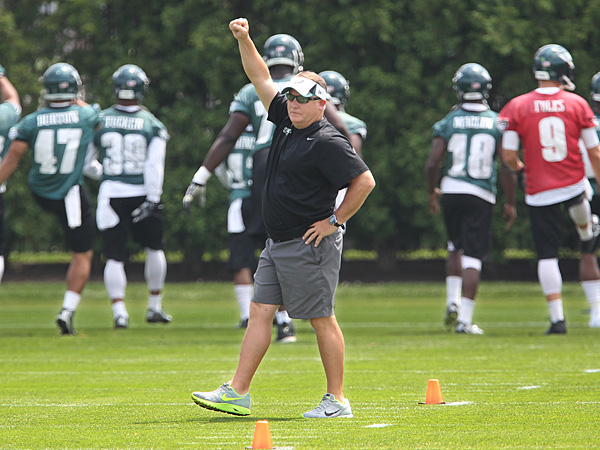 Eagles head coach Chip Kelly gestures at practice on Tuesday, June 17, 2014. (Michael Bryant/Staff Photographer)