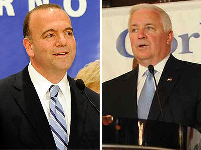 Democratic gubernatorial candidate Dan Onorato (left) accused his Republican opponent, state Attorney General Tom Corbett, of avoiding closing a loophole in Pennsylvania gun laws. (File photos)