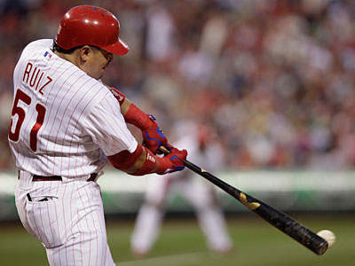 Catcher Carlos Ruiz leads the Phillies in batting average and on-base percentage plus slugging. (Elise Wrabetz/Staff Photographer)