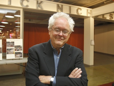 Inquirer alumnus Rick Nichols in front of the Reading Terminal Market´s Rick Nichols Room before the June 2012 dedication.  (AKIRA SUWA  /  Staff Photographer)