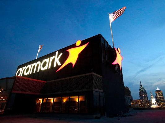 Aramark Lights New Logo Atop Its Philly Tower