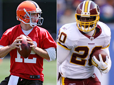 Quarterback Colt McCoy, left, is on the trading block, and the Eagles could add safety Oshiomogho Atogwe. (AP Photos)